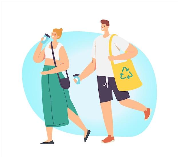 Kilka dorosłych postaci mężczyzny i kobiety pije kawę i nosi produkty w papierowej ekologicznej torbie