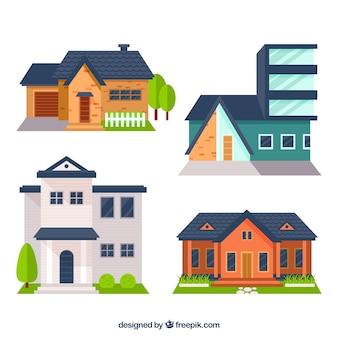 Kilka fasady domów w płaskiej konstrukcji