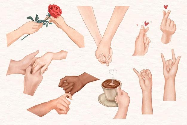 Kilka gestów rąk zestaw elementów estetycznych wektora walentynkowego