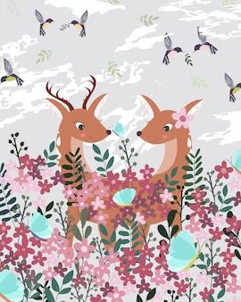 Kilka jeleni w różowym ogrodzie kwiatowym.