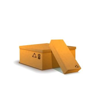 Kilka kartonowych paczek ze znakami ładunku na białym tle