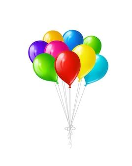 Kilka kolorowych jasnych balonów na białym tle