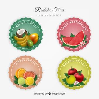 Kilka naklejek owocowych w realistycznym stylu