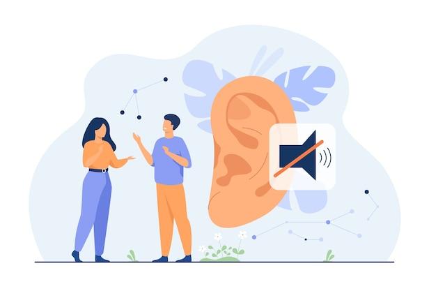 Kilka niesłyszących ludzi rozmawiających z gestami rąk, wielkim uchem i niemym znakiem w tle. ilustracja wektorowa na ubytek słuchu, komunikacja, koncepcja języka migowego