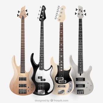 Kilka nowoczesnych gitar elektrycznych