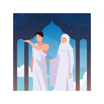 Kilka osób pielgrzymuje hadżdż, dzień dhul hijjah