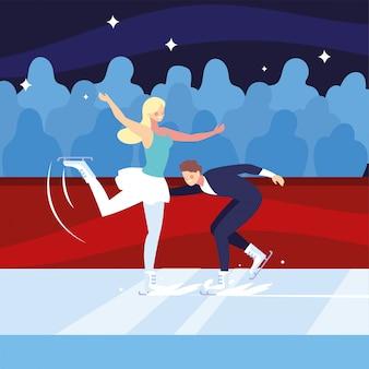 Kilka osób uprawiających łyżwiarstwo figurowe, sport na lodzie