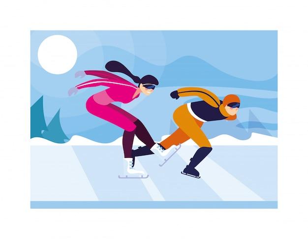Kilka osób uprawiających łyżwiarstwo szybkie