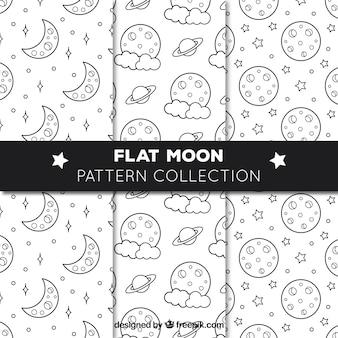 Kilka płaskich wzorów z księżycami i gwiazdami