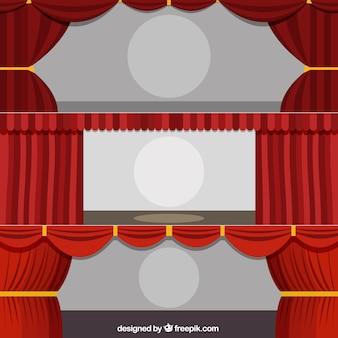 Kilka płaskie zasłony teatralne z okręgu w środku