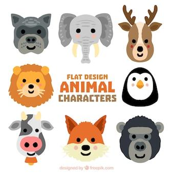 Kilka ręcznie malowane uśmiechnięte dzikie zwierzęta