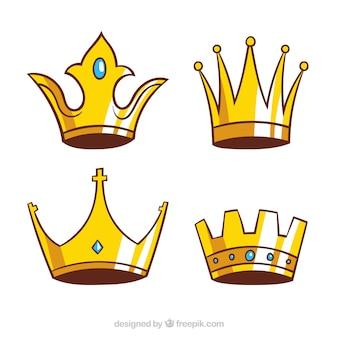 Kilka ręcznie rysowanych koron