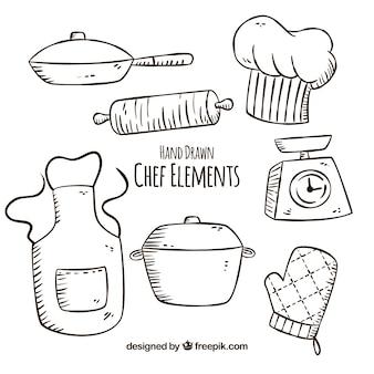 Kilka ręcznie rysowanych przedmiotów kucharzy