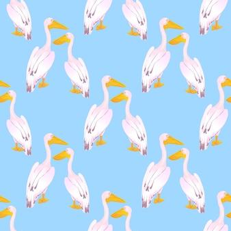 Kilka różowych pelikanów. ptactwo wodne. duży towarzyski ptak wodny z długim dziobem. wzór do tkanin, tapet, do projektowania powierzchni.