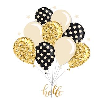 Kilka stylowych błyszczących balonów.