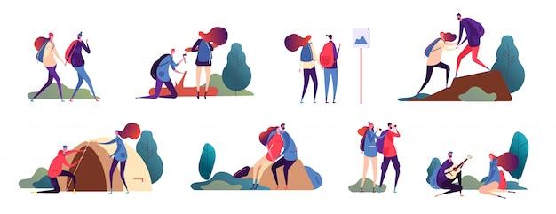 Kilka wędrówek. mężczyzna i kobieta, romantyczni ludzie wędrują. szczęśliwe pary w podróży przygoda na świeżym powietrzu i biwakowanie w przyrodzie. postacie