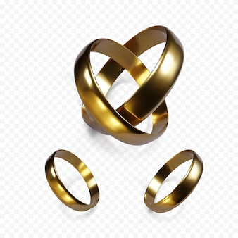 Kilka złotych obrączek ślubnych. złoty obiekt biżuterii. para pierścionków zaręczynowych. ilustracja