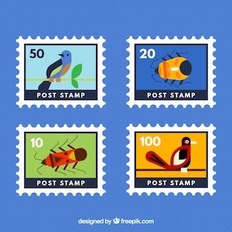 Kilka znaczków zwierzęcych w płaskim kształcie
