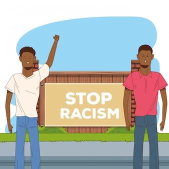 Kilku afro mężczyzn zatrzymuje kampanię na rzecz rasizmu