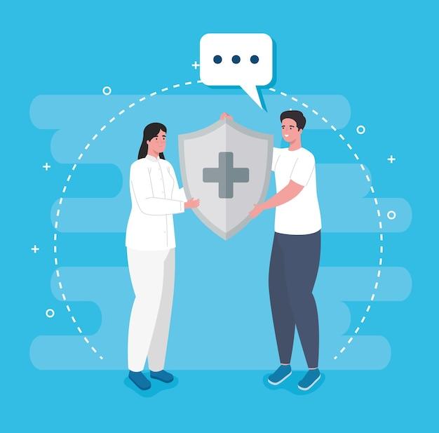 Kilku pracowników medycznych z tarczą układu odpornościowego