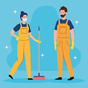 Kilku pracowników sprzątania, z projektem ilustracji miotły