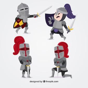 Kilku rycerzy zbroi walczy