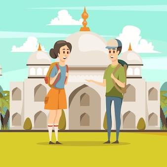 Kilku turystów w indiach