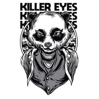 Killer eyes czarno-biała ilustracja