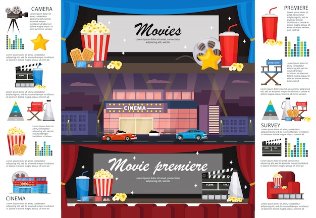Kinematografia infografika poziome banery