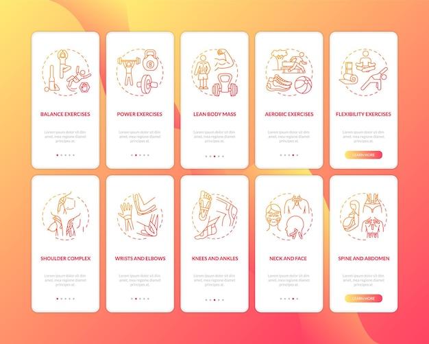 Kinesiology onboarding ekran strony aplikacji mobilnej z ustawionymi koncepcjami