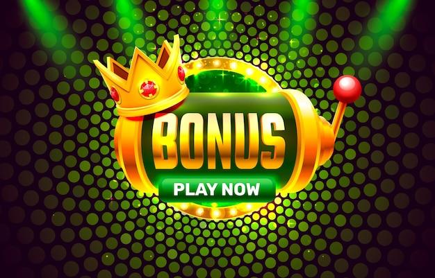 King bonus slots 777 banner casino na zielonym tle.