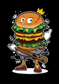 King burger koszykarz ilustracja