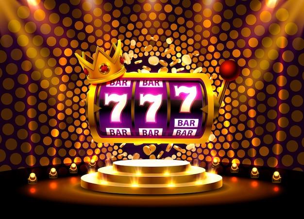 King slots 777 banner casino na złotym tle.