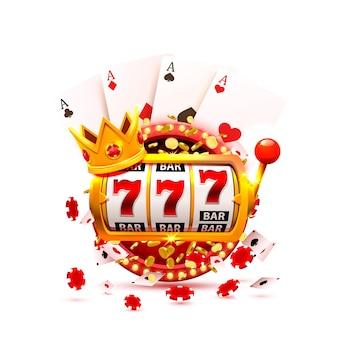King slots 777 banner kasyno na czerwonym tle. ilustracja wektorowa