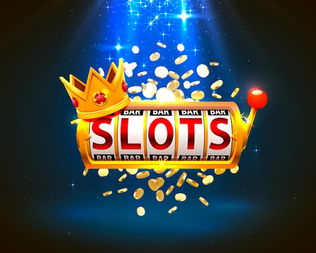 King slots 777 banner kasyno na niebieskim tle. ilustracja wektorowa