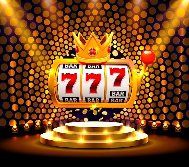 King slots 777 banner kasyno na złotym tle. ilustracja wektorowa
