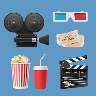 Kino 3d ikony. kamera filmowa clapperboard taśmy filmowe i okulary stereo realistyczne obiekty na białym tle