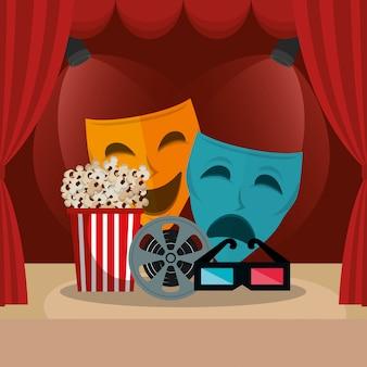 Kino courtain z ikonami filmów