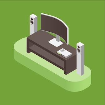 Kino domowe, system audio i koncepcja inteligentnego domu na białym tle. system audiowizualny do salonu.