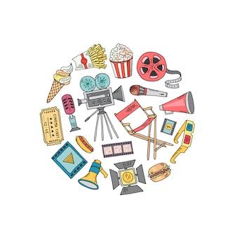 Kino doodle dekoracji w kształcie koła