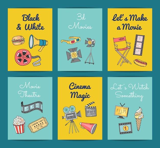 Kino doodle ikony szablony kart i banerów zestaw ilustracji