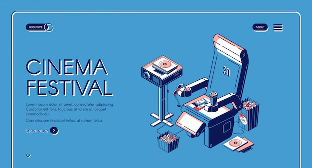 Kino festiwal film czas rozrywki szablon sieci web
