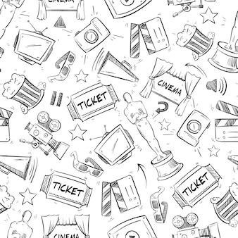 Kino, film doodle wzór. clapboard i wzór kamery, wideo i kinematografii