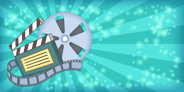 Kino filmowe poziome tło kołowrotek, stylu cartoon