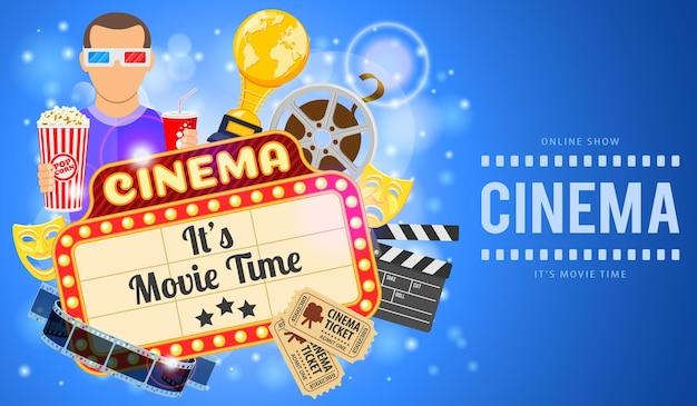 Kino i film baner z płaskimi ikonami przezroczystą folię, popcorn, szyld, maski, nagrody i bilety. ilustracja wektorowa
