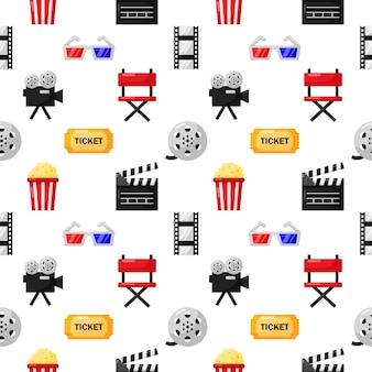 Kino ikony wzór bez szwu. ikona kolekcji znaków i symboli dla stron internetowych z białym tłem.