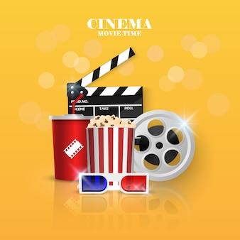 Kino ilustracja na kolorze żółtym