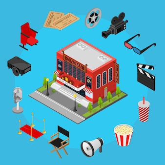 Kino koncepcja czarownica część zestaw widok izometryczny nowoczesna fasada zewnętrzna dla kinematografii movie show business. ilustracja wektorowa
