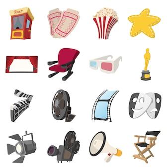 Kino kreskówki ikony ustawiają odosobnionego wektor