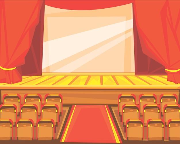 Kino lub scena teatralna z kurtyną.